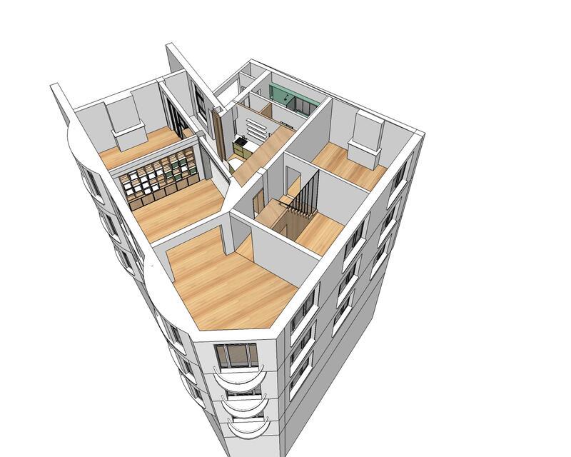 Axonométrie de la répartition des espaces en situation projetée
