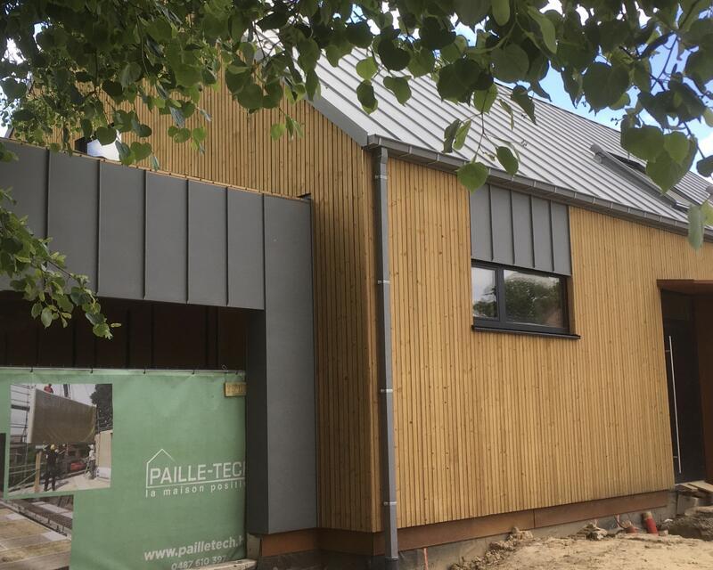 façade avant, bardage bois et zinc, acier corten